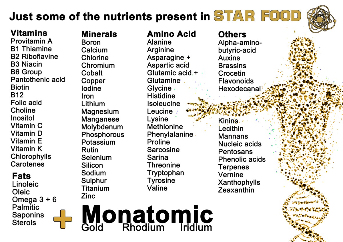 Star Food with Monatomic Gold 3 x 250g Life Minerals
